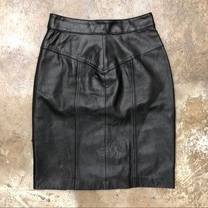 Della Roufogali Black Leather Pencil Skirt Vintage